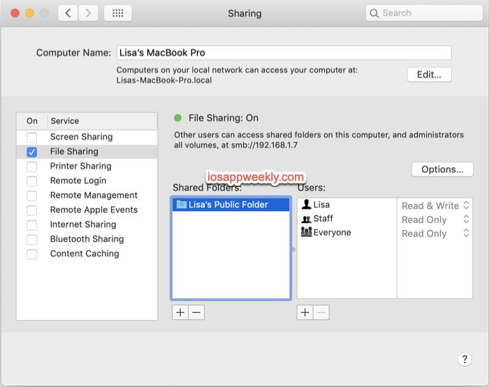 turn on file sharing on macbook