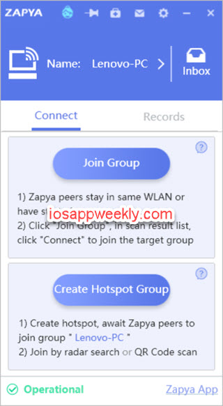 Zapya file sharing for Windows
