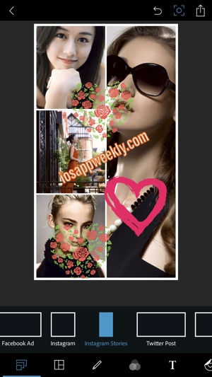 create instagram stories photo collage using PS express on iphone