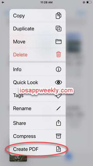 convert photo, image to pdf using files app on iphone