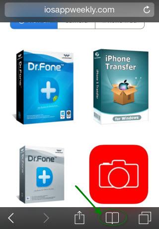 access bookmark in Safari on iphone