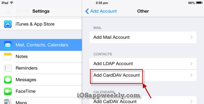 add carddav account to ipad