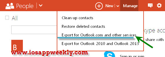export hotmail contacts