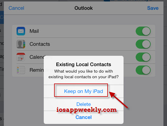 import hotmail contacts to ipad