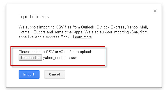 import yahoo contacts to gmail