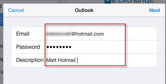 input hotmail ID and password on ipad