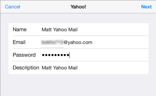 input yahoo mail credentials on ipad