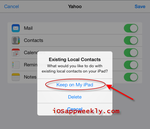 keep existing local contacts syncing yahoo contacts to ipad