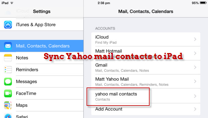 sync yahoo mail contacts to ipad