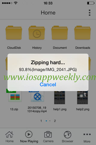 zipping files on iphone