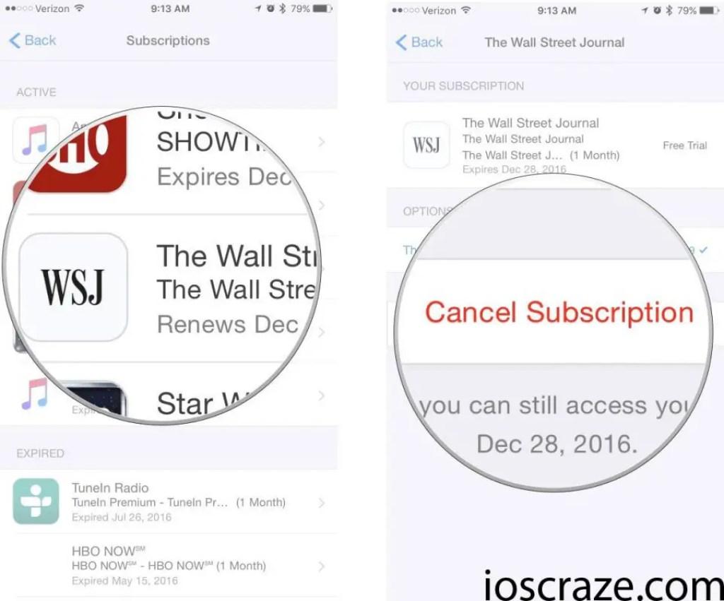 Cancel iOS app subscriptions