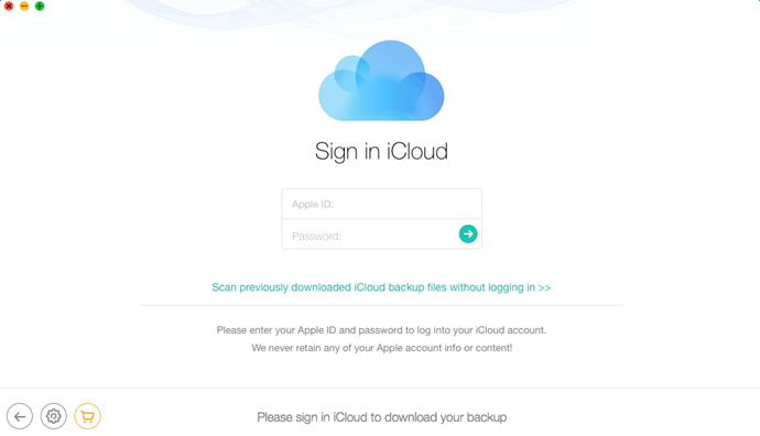 Enter Apple ID and password to log into iCloud account
