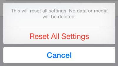 Reset all settings to fix iMessages won't load old messages in iOS 11