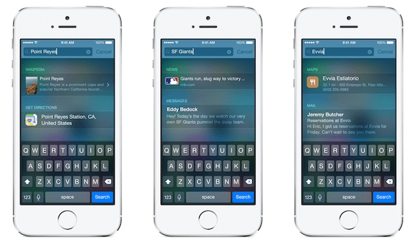 spotlight en iOS 8 proactive en iOS 9