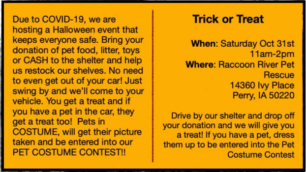 Raccoon River Pet Rescue to host drive-through costume contest 2