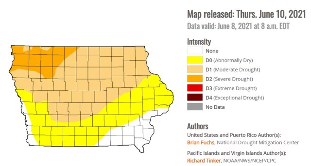 Nearly 90% of Iowa experiencing some degree of drought 1