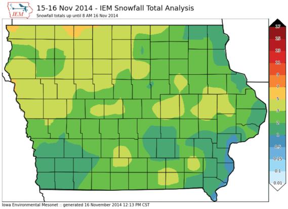 Iowa Snofall Totals