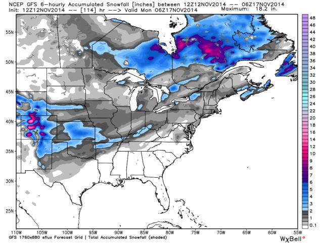 GFS Snowfall Totals