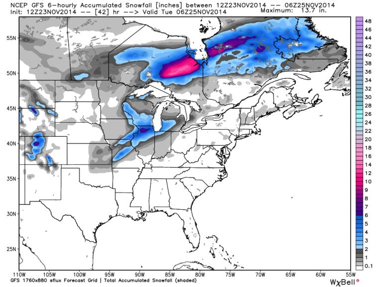 GFS 12z Snowfall Totals