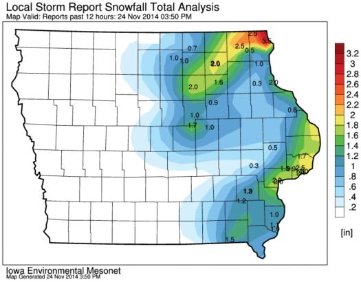 Iowa Snowfall Totals