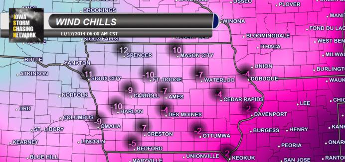 Iowa Wind Chills Monday