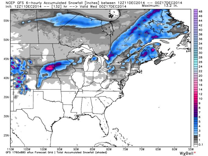 GFS Snowfall Monday