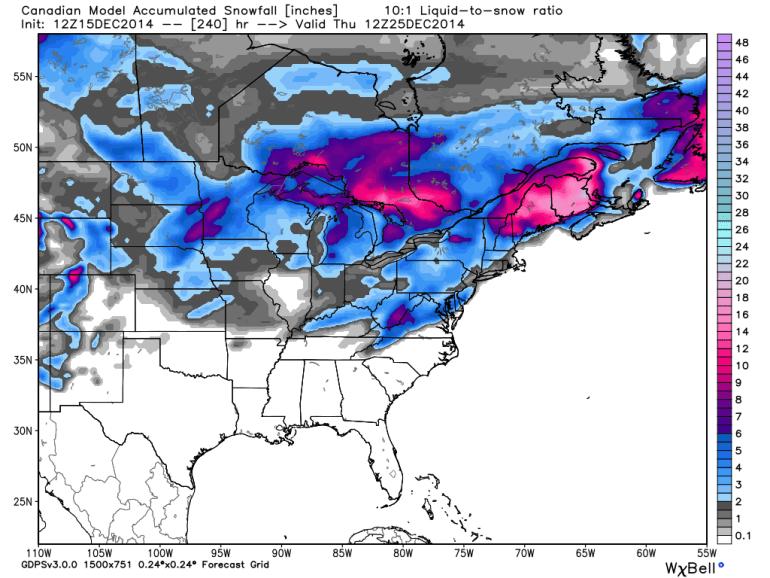 GEM Model Accumulated Snowfall 12/25