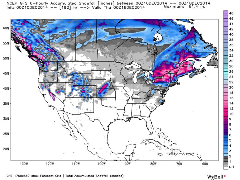 NCEP GFS 6 Hourly Accumulated Snowfall 12/18