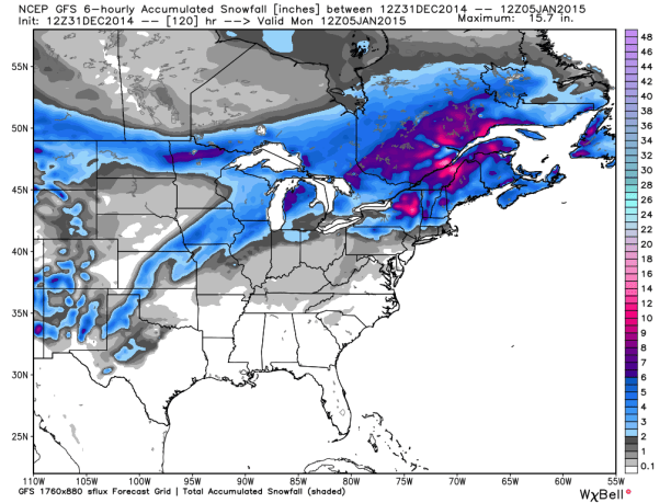 GFS Snowfall Totals
