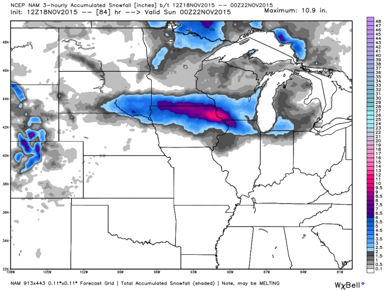 Iowa NAM Snowfall Totals