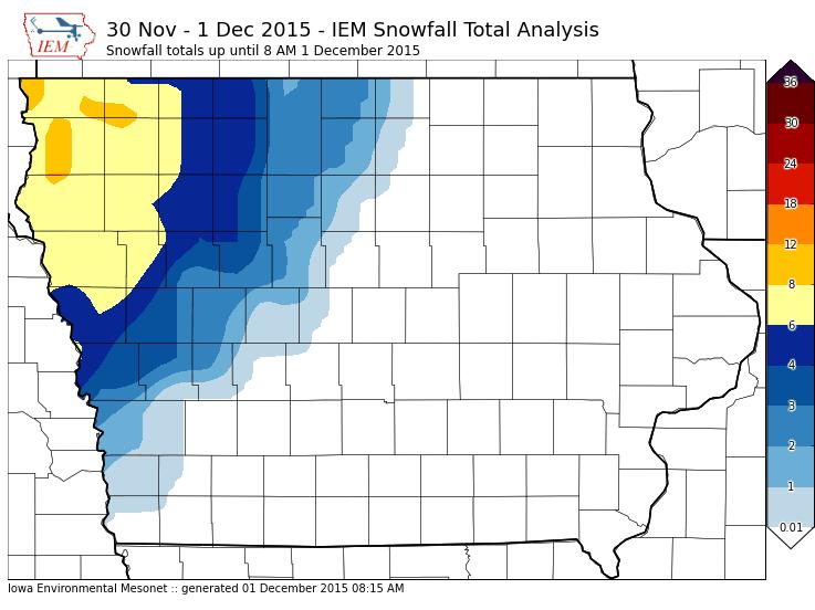 Iowa Snowfall Totals November 30th