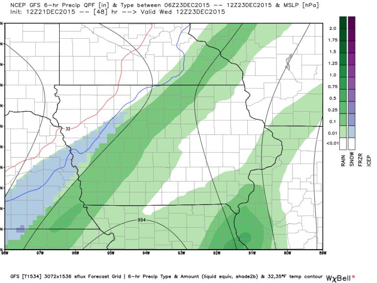 Iowa GFS Forecast Rainfall
