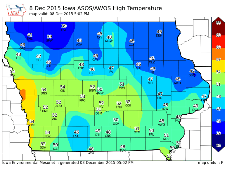 Iowa Highs Tuesday December 8th 2015