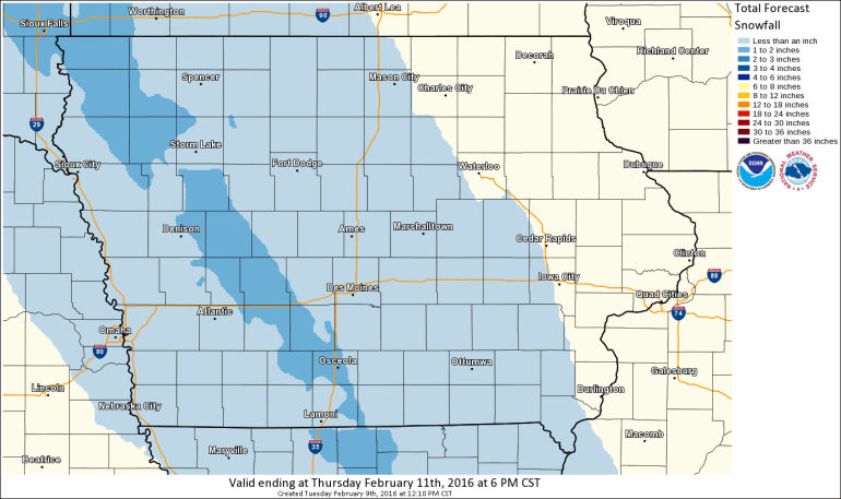 Iowa Forecast Snowfall