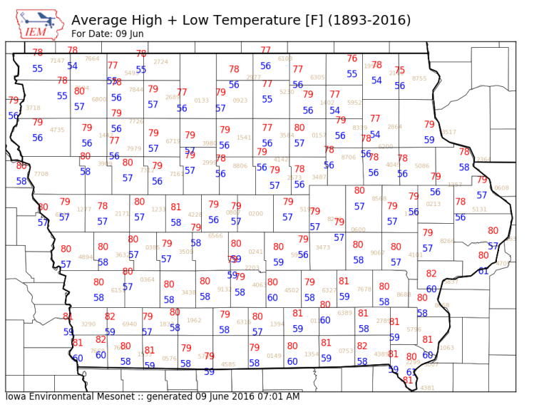 Iowa June 9th average temperatures