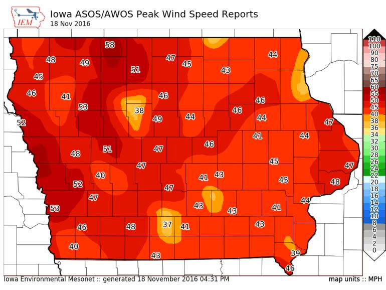 Iowa Wind Gust November 18th, 2016