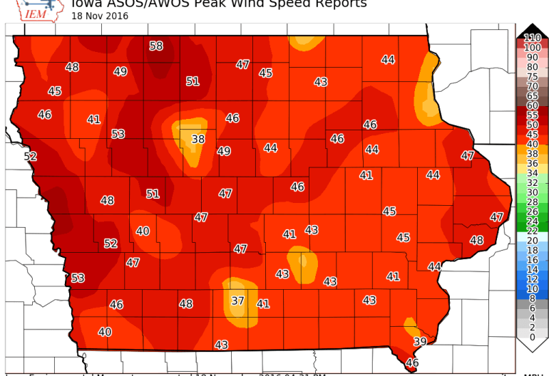 Iowa Wind Gust November 18th, 2016
