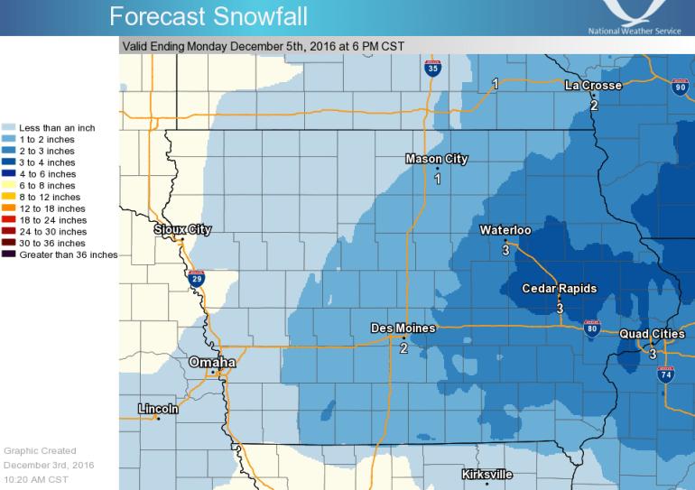 Snowfall Forecast for Iowa
