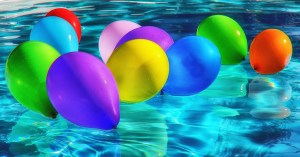 swimming pool and balloons
