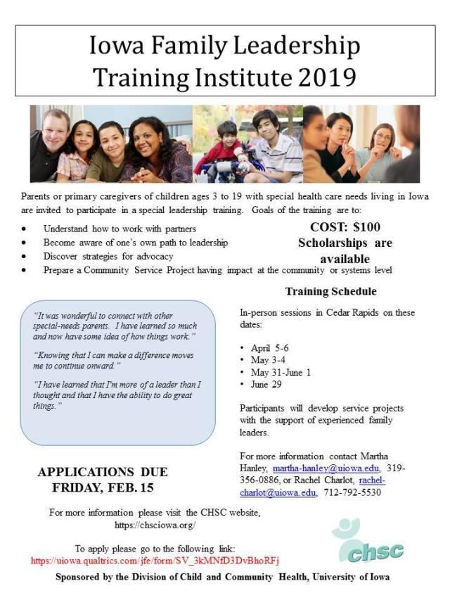 2019 Iowa Family Leadership Training Institute Flyer