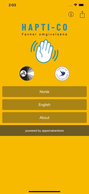 Hapti-Co Haptics App Title Screen