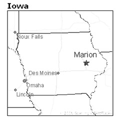 location of Marion, Iowa, in Linn County