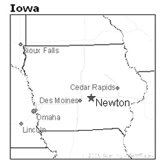 location of Newton, Iowa