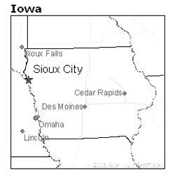 location of Sioux City, Iowa