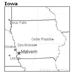 location of Malvern, Iowa