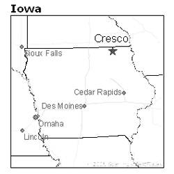 location of Cresco, Iowa