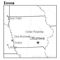 location of Ottumwa, Iowa