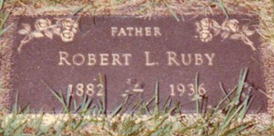 Robert Ruby's headstone in Ottuma Cemetery