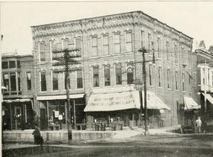 Henry Duffy was killed in his store, at left  (from Past and Present of Allamakee County)