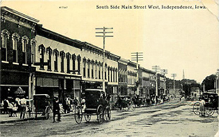 Early postcard of Independence, Iowa, business district.